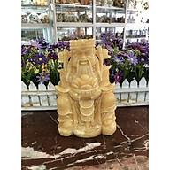 Tượng ông Thần Tài kim tiền, thần phát cầm thỏi vàng kim nguyên bảo mang lại may mắn tài lộc đá ngọc hoàng long đặt bàn thờ thần tài - Cao 20 cm thumbnail