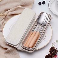 Bộ đũa + thìa + dĩa cán gỗ tiện dụng - br00329 thumbnail