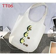 Túi tote canvas mềm trái bơ ngộ nghĩnh có khóa và túi con thumbnail