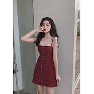Đầm xòe 2 dây kẻ caro đỏ dáng chữ A hở lưng buộc nơ cực xinh freesize 52kg thumbnail