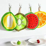 Combo 4 khăn lau đa năng siêu thấm họa tiết trái cây hình tròn 20cm thumbnail