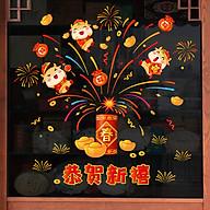 Decal dán tường, dán kính, trang trí Tết Tân Sửu- chào xuân mới- mã sp QR209142 thumbnail