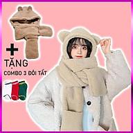 Mũ len, mũ lông cừu tai gấu kèm khăn quàng cổ và găng tay ấm áp - Hàng Cao Cấp nhập khẩu Hàn Quốc thumbnail