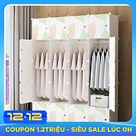 Tủ quần áo lắp ghép 4 thanh treo 8 ô để đồ màu sắc trang nhã thumbnail
