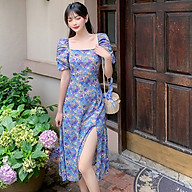 Đầm Hoa Body Cổ Vuông Tay Phồng Xẻ Tà Quyến Rũ - MSP D13 thumbnail