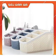 Khay 4 ngăn đa năng đựng mỹ phẩm bút điều khiển điện thoại 5696 - Kệ nhựa để bàn đựng đồ tiện ích nhựa thumbnail