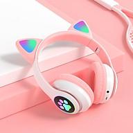 Headphone Chụp Tai Bluetooth 5.0 Có Mic tai Mèo Cute Âm Thanh Sống Động, Led Siêu Nhạy thumbnail