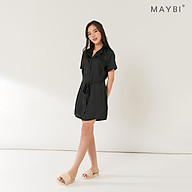MAYBI - Đầm ngủ suông cổ danton đen - Black notched shift dress thumbnail