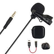 Lavalier Lapel Microphone Clip-on Omnidirectional Mic Single Head with Foam Fur Windshield Carrying Case 3.5mm TRRS Plug thumbnail
