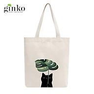 Túi Tote Vải Mộc GINKO Dây Kéo In Hình Cat With Leaf M09 thumbnail