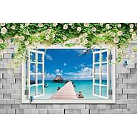 Tranh dán tường 3d cửa sổ biển và hoa hồng ép lụa kim sa có sẵn keo CS34 thumbnail