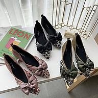 Giày Búp Bê Nữ Đính Đá Bệt Êm Chân Da Lộn Tiểu Thư Mery Shoes- MBS448 thumbnail