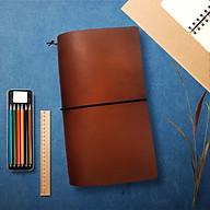 Sổ da Midori Màu Nâu Coffe size regular 23x12 gồm 3 ruột sổ Trắng trơn thumbnail