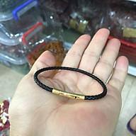 Vòng đeo tay dây da đỏ bấm khóa không đen, không rỉ. thumbnail