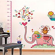 decal dán tường thước đo chiều cao cho bé thước đo voi hồng ngộ nghĩnh sk9036 thumbnail