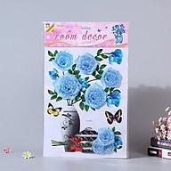 Bình hoa 3D trang trí phòng khách, tủ lạnh, quán cafe- Binh hoa hồng xanh nhạt thumbnail