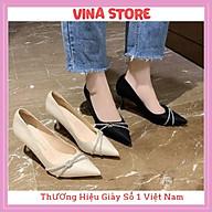 Giày Cao Gót Nữ 7P Mũi Nhọn Quai Gắn Đá Kim Tuyến Hottrend 2021 -mã VNST0015 thumbnail
