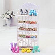 Kệ giày cho búp bê hoa văn màu trắng thumbnail
