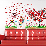 decal dán tường cây trái tim và đôi tình nhân đạp xe sk9207 thumbnail