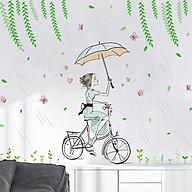 Decal dán tường trang trí phòng khách, quán cafe- Cô gái đạp xe dưới mưa- mã sp DXL7220 thumbnail