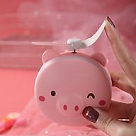 Quạt sạc mini kèm đèn gương hình pepapig siêu cute thumbnail