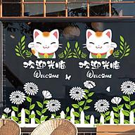 Giấy Decal dán kính trang trí hình chú mèo may mắn DKN126 (200 x 120 cm) thumbnail