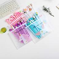 Bộ 10 bút viết nhiều màu sắc dễ thương tặng kèm túi zip thumbnail