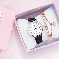 Đồng hồ thời trang nữ Cd1, dây da nhung mặt số - không kèm vòng tay thumbnail