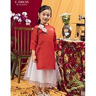 Set Áo dài cách tân cho bé, áo tân thời cho bé màu đỏ thumbnail