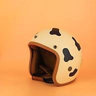 Mũ Bảo Hiểm 3 4 Tem Bò Sữa Đáng Yêu, Lót Nâu Chính Hãng - Tặng Kèm Lưỡi Trai thumbnail