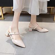 Sandal cao gót nữ, giày cao gót thời trang nữ mũi nhọn đế hình trụ cao 5p thumbnail