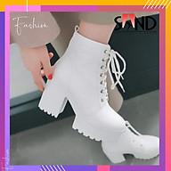 Giày Boot Trắng Cổ Cao Khoen Đế 7 Phân thumbnail