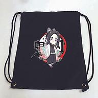 Balo dây rút đen in hình KIMETSU NO YAIBA anime chibi M3 túi rút đi học xinh xắn thời trang thumbnail