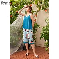 FEMEI - Đồ bộ mặc nhà áo 2 dây 5cm quần lửng QLP003 thumbnail