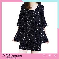 Bộ quần áo cộc họa tiết chấm bi dáng áo giấu bụng phong cách Hàn Quốc thumbnail