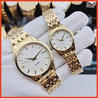 Đồng hồ dây kim loại thời trang nam nữ Hlcl1. mặt tròn kính cứng kèm lịch ngày sang trọng thumbnail