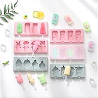 Khuôn làm kem 3 ô silicone hình dáng dễ thương tặng kèm que,Khay tạo hình làm kem tại nhà thumbnail