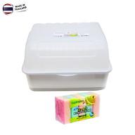 Combo khay úp chén bát có nắp đậy an toàn hàng Made in Thailand tặng Set 05 miếng mút rửa chén bát hàng nội địa Nhật Bản thumbnail