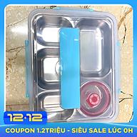 Bộ khay cơm phần 5 ngăn inox 304 có chén đựng canh và muỗng đũa thumbnail