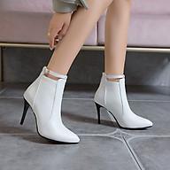 Boot nữ cổ ngắn gót nhọn màu trắng HIỆN ĐẠI GBN6402 thumbnail