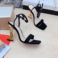 Giày sandal cao gót nữ gót chữ S ánh vàng quai mảnh chéo hậu cao cấp - LN157 thumbnail