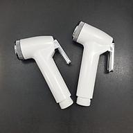 Bộ 2 Tay xịt nhựa_Vòi xịt vệ sinh cò nhựa mạ si inox ABS trắng Cao cấp thumbnail
