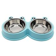 Bát đôi inox đựng thức ăn và nước uống cho chó mèo, thiết kế dễ thương thumbnail