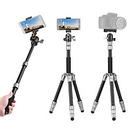 Andoer Q066 Compact Portable Tripod Lightweight Tripod Monopod with Phone Clip Quick Release Plate Ball Head Storage Bag thumbnail