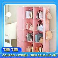 Tủ nhựa đựng túi xách lắp ghép 8 ô màu hồng kém móc treo thumbnail