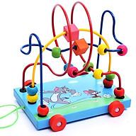 Xe đồ chơi bằng gỗ, xe xâu chuỗi luồn hạt gỗ, đồ chơi an toàn cho bé giúp trẻ kích thích giác quan hỗ trợ phát triển trí tuệ bằng đồ chơi thông minh Tặng Kèm Móc Khóa. thumbnail