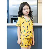 Pijama bé gái màu vàng họa tiết chiếc lá thumbnail