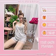 Bộ đồ ngủ, đồ bộ pijama nữ mặc nhà áo hai dây quần ngắn phối ren chất liệu lụa hàn free sezi 40kg đến 60kg thumbnail