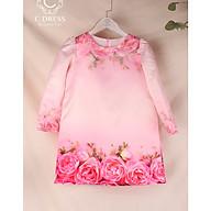 Áo dài cho bé in hoa hồng 3D diện tết cực xinh thumbnail