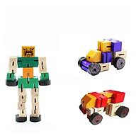 [COMBO 2 Chiếc] Mô hình đồ chơi bằng gỗ độc đáo an toàn cho bé - Lắp ghép nhiều hình rô bốt, xe tải, xe cẩu - Giao màu ngẫu nhiên thumbnail